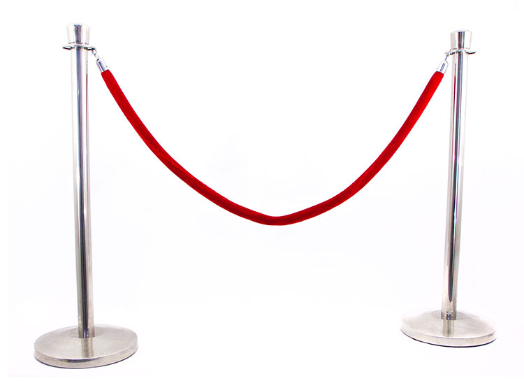 CHROME STANCHION WITH ROPE